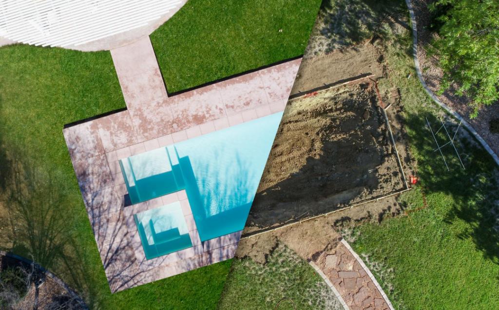 Comparação de piscina pronta e em construção